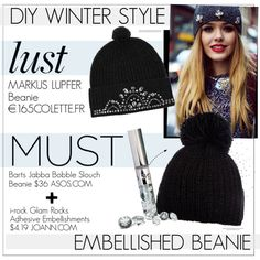 """""""DIY EMBELLISHED BEANIE"""" by cutandpaste on Polyvore"""