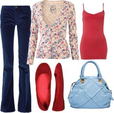 """Blue and Red Flowers"" by abnagy on Polyvore"
