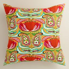 Featuring our exclusive paisley design, our vibrant throw pillow is made of high-performance fabric for long-term outdoor use and is available in two sizes. www.worldmarket.com #WorldMarket Outdoor Entertaining