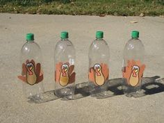 Turkey Bowling Pins made from handprints.