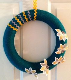 Wonderful Teal Wreath with Felt Petal Flowers by FunkyFreshCrafts on Etsy