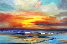 Sunset Seascape Oil Painting Original 11x14 by smallimpressions