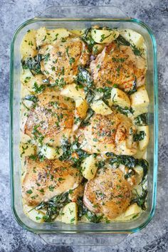 Chicken and potatoes with garlic Parmesan cream sauce  | This recipe is a staple in our home!