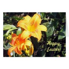 Yellow Lilly Easter Card - holiday card diy personalize design template cyo cards idea