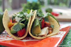 Grilled Chicken and Avocado Tacos with Cilantro Crema. THEY'RE SO GOOD!! #chickentacos #chickenrecipes #mexicanrecipes #avocadorecipes #tacorecipes