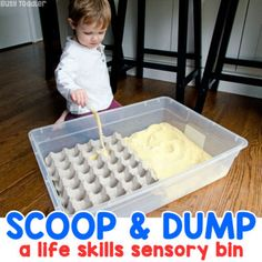 Is your toddler learning to use a spoon? Try this easy cornmeal scooping station - a quick and easy toddler activity to help learn this important life skill. An easy sensory bin activity for toddlers. Toddler Sensory Bins, Baby Sensory Play, Montessori Toddler, Toddler Learning, Montessori Activities, Toddler Play, Toddler Preschool, Classroom Activities, Activities For One Year Olds