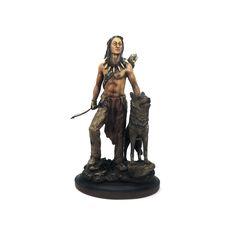 Índio com lobo Largura x Altura x Profundidade: 19 x 32 x 11,5 cm Peso: 900 g Material: resina Acabamento: colorido Origem: Ásia