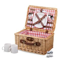 """Catalina English Style Willow Picnic Basket - Red & White Plaid. English-style basket picnic service for two. Features ceramic plates and mugs. Made of willow with polyester lining. 14"""" x 11"""" x 7.5"""""""