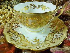 ANTIQUE RIDGWAY TEA CUP AND SAUCER SOFT TAUPE BAND SPLIT HANDLE c1820+