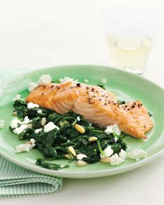 Broiled Salmon with Spinach-and-Feta Saute - looks so easy, quick and delicious!