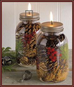 Mason Jar Oil Candles ~ using paraffin oil and a fiberglass wick (that never needs to be replaced).  http://www.flickr.com/photos/heathashli/6380472961/