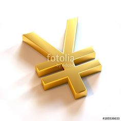 """Yen Currency Gold Color. 3D Render Illustration"" Stock photo and royalty-free images on Fotolia.com - Pic 185536633"