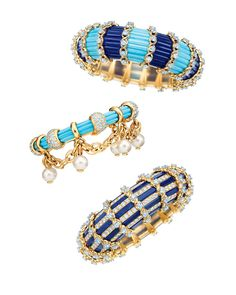 Tiffany & Co. hand-carved lapis lazuli, turquoise and pearl bracelets, inspired by original designs by Jean Schlumberger.