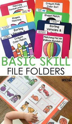 Basic skills file folders that focus on colors shapes letters numbers categories matching and errorless tasks for special education, early childhood education, pre-school or kindergarten. #skillsfolders #filefolderactivities