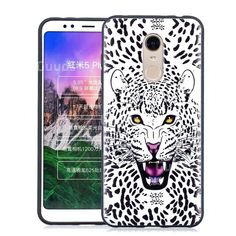 Snow Leopard Embossed Relief Black Soft Back Cover for Mi Xiaomi Redmi 5 Plus - TPU Case - Guuds