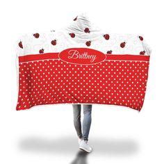 Love Ladybugs Hooded Blanket – Designing on Wine Hooded Blanket, 2020 Design, Ladybugs, Snuggles, Little Ones, Blankets, Hoods, Vibrant, Cozy
