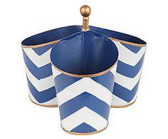 Boîte peinte à la main CHEVRON acier, bleu et blanc - H20