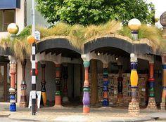 Kawakawa is world famous for the Hundertwasser toilets, designed especially by the town's famous Austrian resident, Freidensreich Hundertwasser. Friedensreich Hundertwasser, Long White Cloud, New Zealand North, Kiwiana, Toilets, Homeland, Buildings, Nostalgia, Public