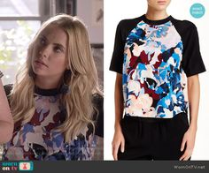 Hanna's abstract print top on Pretty Little Liars.  Outfit Details: https://wornontv.net/56187/ #PLL