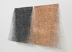 """12 Hours (Material: Coated Copper and beads ; Size: 24"""" x 50"""" x 8"""")  """"There's a sense of weightlessness in Koenigsberg's knotted and woven wire structure. Fragile,but strong suggestive of architecture ..."""
