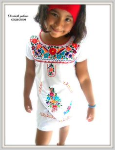 Etsy - Angeles y Flores Ethnic Handmade Embroidered Mexican Toddler Tunic Dress