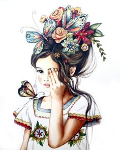Items similar to female empowerment, art print ,woman artwork, portrait artwork ,claudia tremblay flowers in her hair. on Etsy Claudia Tremblay, Hair Painting, Painting Flowers, Vintage Roses, Vintage Hair, Flowers In Hair, Draw Flowers, Tattoo Flowers, Spring Flowers