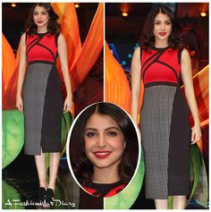 Wowza!  Anushka Sharma looked picture perfect while promoting 'Bombay Velvet' on the sets of India's Got Talent.  She has given us impeccable looks for the promotions and this dress, gets added to the pile of perfection.  The color-blocked dress with the red bodice and two-tone skirt was part of Tanieya Khanuja's latest collection.  She kept with the look and added a fierce pair of sandals and red lips.  Love H2T!