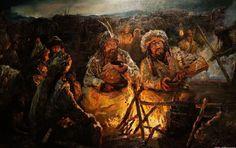 Tattoo Finka The Huns at a camp fire Attila The Hun, Propaganda Art, Stoner Art, The Turk, Asian History, Fantasy Warrior, Ancient China, Barbarian, Roman Empire