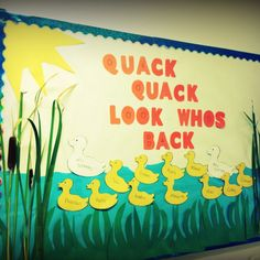 back to school bulletin board. it would be cute to set up a small water table with a rubber duck for each child.♥