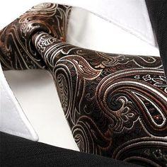 U16 Paisley Brown Black Wedding Gold Mens Ties Necktie 100% Silk Jacquard Woven