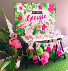 FLAMINGO Backdrop Design for Birthday Party Tropical Style.