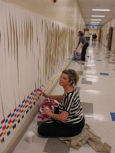 community weaving project. Love the idea of weaving bringing a community together.