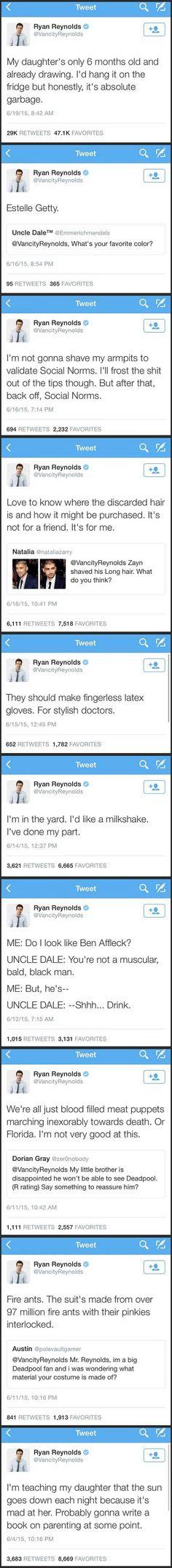 Ryan Reynolds' Twitter is a lot of fun.