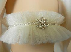 Pearl Rhinestone Flower Tulle Wedding Garter by THEFAIRYTHINGS
