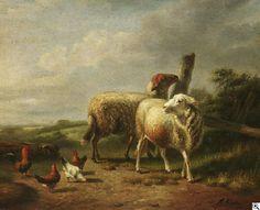 Joseph van Dieghem: Schafe und Hühner aus unserer Rubrik: Gemälde des 16. bis 18. Jahrhunderts