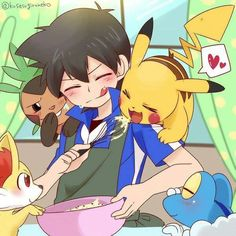Ash Ketchum and Pikachu with the Kalos Pokémon Starters ^.^ ♡ I give good credit to whoever made this
