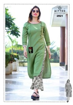 Mittoo panghat vol 4 kurtis With plazzo Mittoo Panghat vol 4 rayon kurtis With palazzo catalog wholesaler. mittoo manufacture 2019 latest Designer Panghat vol 4 casual kurtis With palazzo buy at ca… New Kurti Designs, Kurta Designs Women, Kurti Designs Party Wear, Salwar Designs, Blouse Designs, Kurti Sleeves Design, Sleeves Designs For Dresses, Neck Designs For Suits, Kurta Neck Design