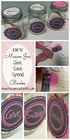 FREE Printable DIY Mason Jar Piggy Banks (Dave Ramsey inspired - Give, Save, Spend) from Loving Mountain Life