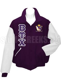 Purple Beta Upsilon Chi Letterman Varsity Jacket with white sleeves, the Greek letters down the right, and the crest on the left breast.