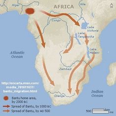 Bantu Migration - The Bantu people started migrating from West Africa. They gradually moved south through Africa. Africa Map, West Africa, South Africa, Victoria Lake, Timeline Images, Congo River, Lake Tanganyika, 6th Grade Social Studies, African History