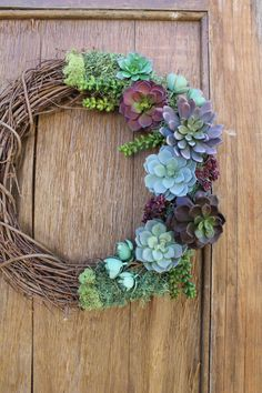 Succulent Wreath Spring Wreath Purple by HeartOfHomeDesign on Etsy