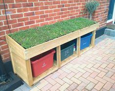 Low Level Recycling Box Store (Triple Width) with Green Roof Planter – Bluum Stores Recycling Bin Storage, Storage Bins, Garbage Storage, Recycling Center, Recycling Ideas, Storage Area, Outside Storage, Outdoor Storage, Bike Shelter