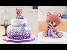 Easy Baby Shower Cake + Bear cake Topper - Tan Dulce - YouTube