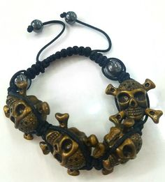 Vintage Feel Varnished Gold Color Pirate Skull Black Cord Adjustable Bracelet #LaCoquetaJewelry #Shamballa Jewelry Ideas, Jewelry on Ebay, Jewelry on Pinterest