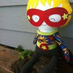 Hazy Mae designs - Vintage Style for the Modern Child  18 inch cloth Super Hero doll. $35.00