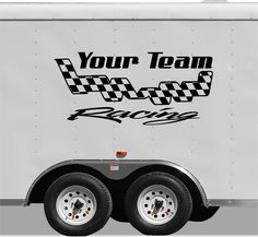 Checkered Flag Racing Team Name Trailer Decal - Vinyl Decal - Custom Text -Trailer Sticker - YT006