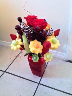 Home made Edible Arrangement. (Strawberries, chocolate ...