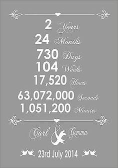 #Anniversary 2nd year second years #wedding #personalised art word wall gift typo, View more on the LINK: http://www.zeppy.io/product/gb/2/131763910192/