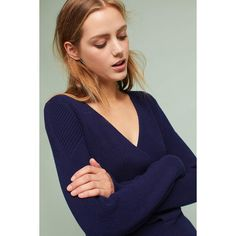 Moth Wrapped V-Neck Sweater ($98) ❤ liked on Polyvore featuring tops, sweaters, navy, v neck wrap top, blue sweater, navy v neck sweater, butterfly tops and moth sweaters