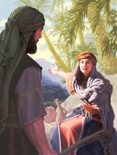 The prophetess Deborah speaks to Barak. She was a woman of faith. See JW.ORG for more information.